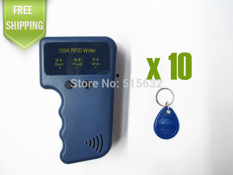 Handheld 125khz ID Card Copier Writer RFID Keyfob Duplicate Access Control Waterproof Compatible T5577+ 10pcs  Rewritable Tag