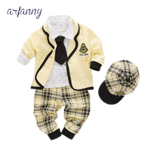 ARFANNY Newborn Baby Boy Set Birthday Christening Cloth Infant Baby Boys Formal Wedding Clothes Suit coat+T-shirt+Pant+hat недорого