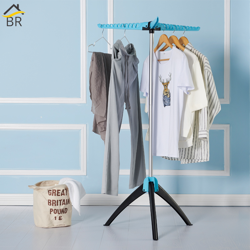 BR Stainless Clothes Rack Foldable Multifunctional Clothing Hanger Floor Coat Stand Hanging Rack Laundry Drying Rack For Clothes