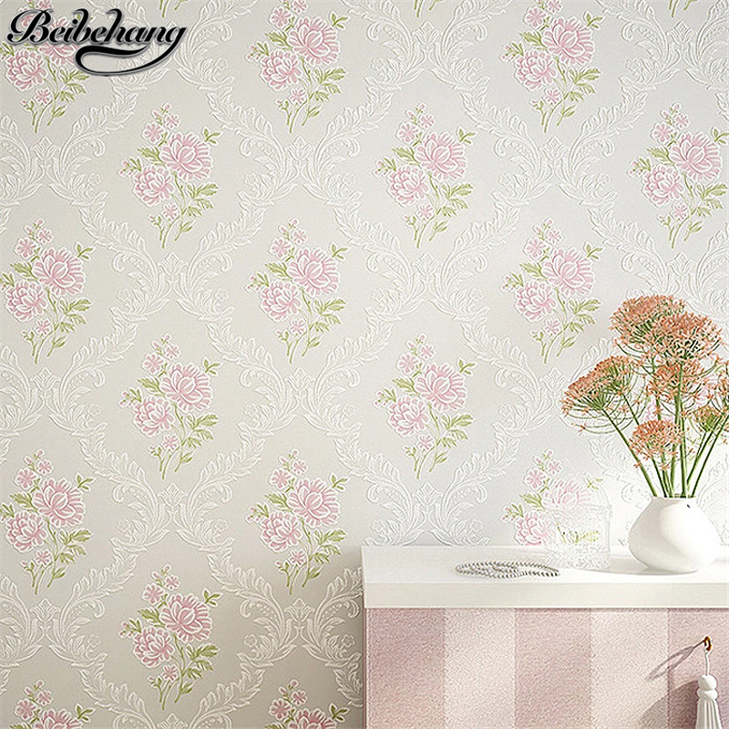 beibehang High-end pastoral style non-woven wallpaper bedroom 3d wallpaper living room bedroom hotel wallpaper papel de parede beibehang papel de parede shop for imported non woven mediterranean vertical stripes wallpaper bedroom living room small fresh