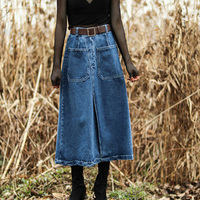 2018 Spring Skirts Womens Clothing Casual Blue Denim Skirts Sashes Long Skirt A Line Jeans Skirt