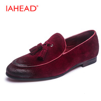 2017 Suede Leather Men Loafers Vintage Tassel Men Flats New Style Low Heel Fashion New Carving