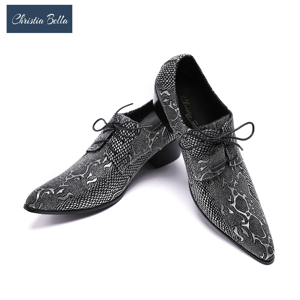 Christia Bella Pointed Toe Men Dress Shoes High Heels Genuine Leather Men Shoes Party Wedding Shoes Business Handmade Loafers