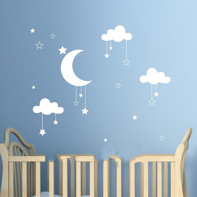 Lovely Baby Nursery Clouds Stars Wall Sticker Moon Clouds Wall Decal Kids  Room Decor Easy Wall Design
