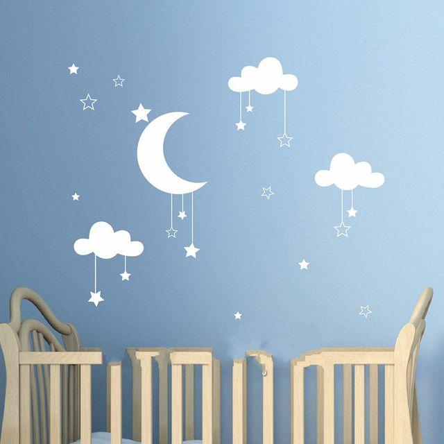 Schöne Baby Kindergarten Wolken Sterne Wandaufkleber Mond Wolken ...