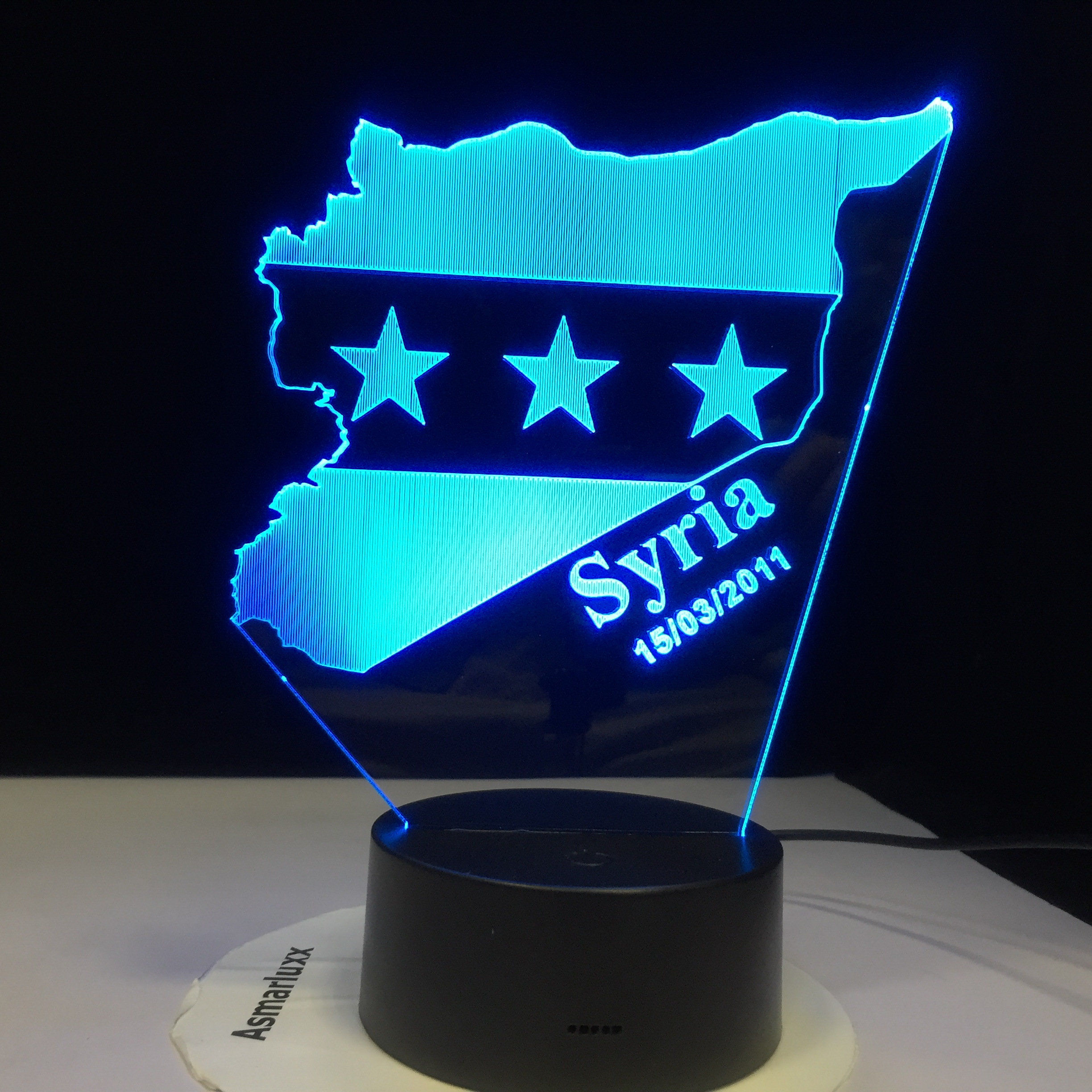 Syria Map Flag 7 Colors Changing USB Bedroom Decor Shape Table Lamp 3D LED Night Lights Bedside Sleep Light Fixture Gifts