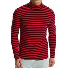 T Shirt Men Brand 2019 Fashion Men'S High Collar Striped T-Shirt Hip Hop Tops & Tees T Shirt Men Long Sleeve Slim Male Tops 3XL t shirt men brand 2017 men s fashion heap collar design tops