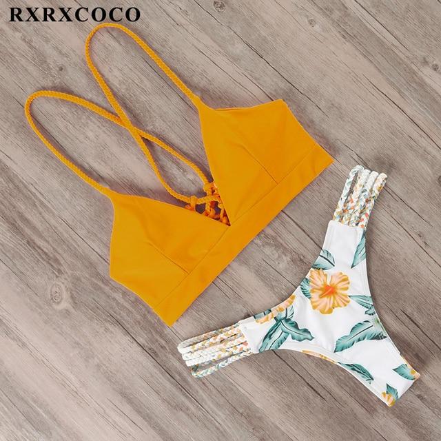 RXRXCOCO Bandage Swimwear Women Brazilian Bikini Swimsuit Female Thong Bikini Set Bathing Suit Push Up Flower biquini swimsuit 2