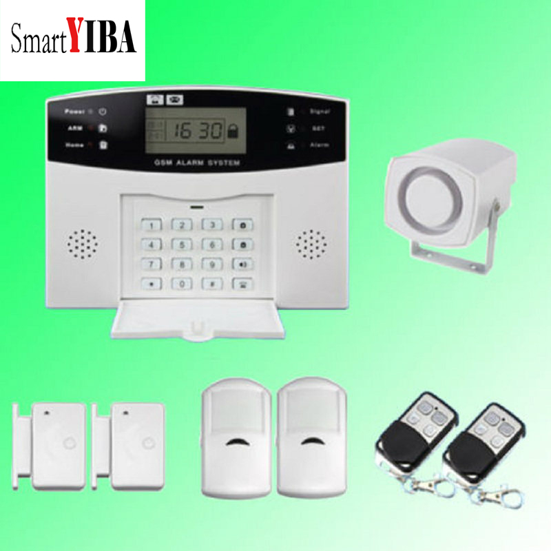 SmartYIBA LCD Display Two Way Intercom Home Security GSM Alarm System With Door PIR Motion Sensor Russian Spanish French Voice russian french spanish voice quad band gsm home security alarm system gsm sms intercom lcd display with door security sensor