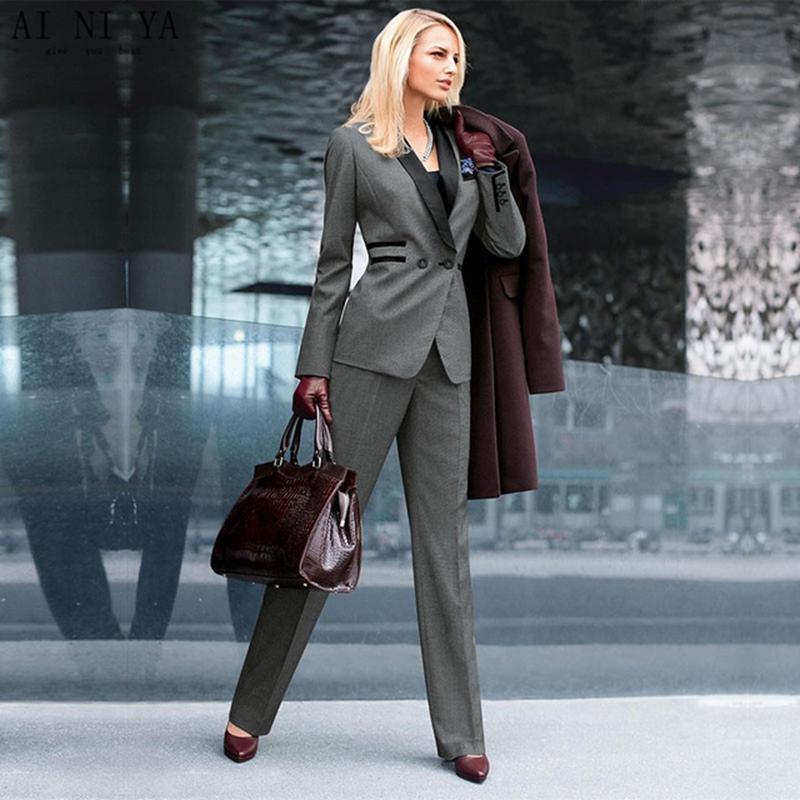 Bespoke Gray Women Business Pants Suits Shawl Lapel Uniform 2 Piece Ladies Wedding Dinner Suit B322