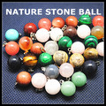 5pcs nature stone pendant turquoise rose quartz opal black onyx crystal size 14mm charms jewelry pendant round ball