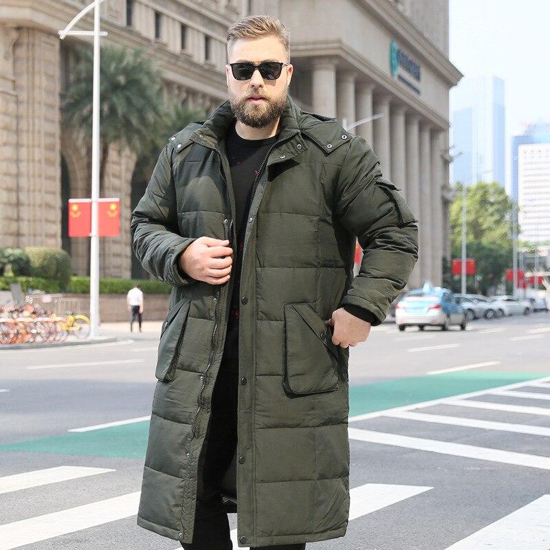 2019 hommes Long sur le genou coton manteau mâle blanc canard vers le bas chaud noir veste épais décontracté hiver vêtements taille XL-10XL