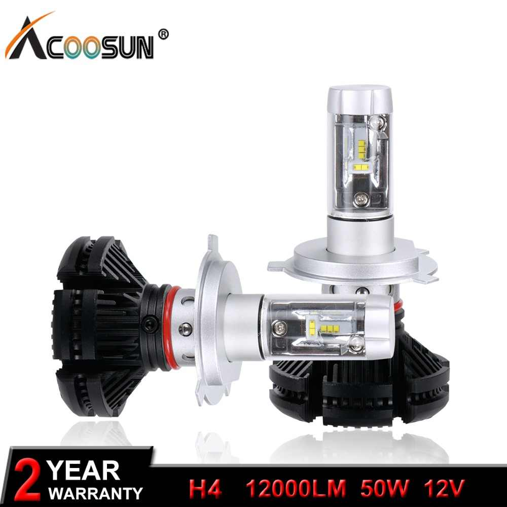 LED H4 Hi-Lo Beam LED Car Headlight 50W Pair 12000lm  ZES LED Chip COB Auto Led Headlight Bulb IP67 6500K Combo Light Sourcing