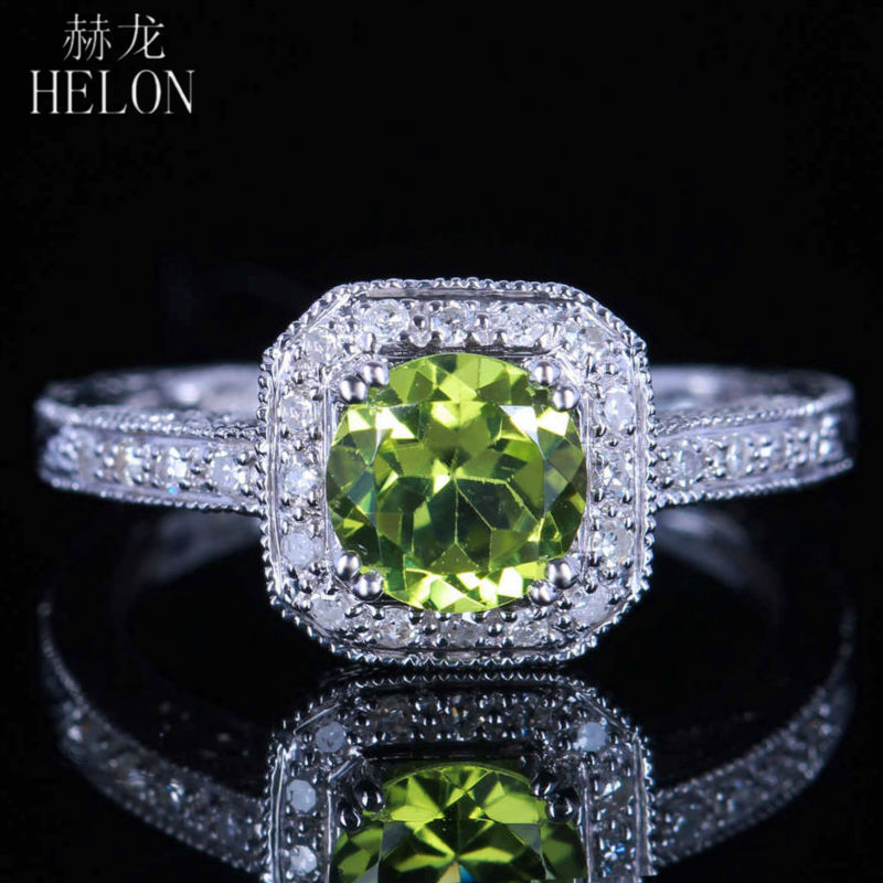 HELON Vintage Antique Filigree Women Jewelry Solid 14K White Gold Genuine Peridot Pave Diamonds Engagement & Wedding Fine RingHELON Vintage Antique Filigree Women Jewelry Solid 14K White Gold Genuine Peridot Pave Diamonds Engagement & Wedding Fine Ring