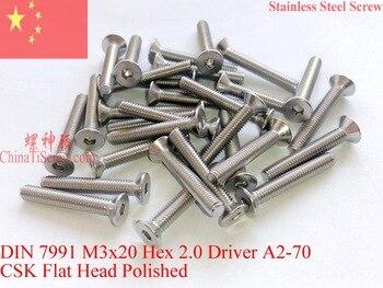Винты из нержавеющей стали M3x20 DIN 7991 CSK плоская головка шестигранный драйвер A2-70 полированный ROHS 100 шт