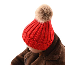 2019 Fashion Fur Pompom Winter Hats for Kids Warm Knitted Hat Solid Pom Hat Boy Girls Outdoor Skiing Hats, Wool Hats 3 6t russia winter keeps warm snow kids girls clothes big fur hats down romper girls catsuit outdoor overalls for boy kids