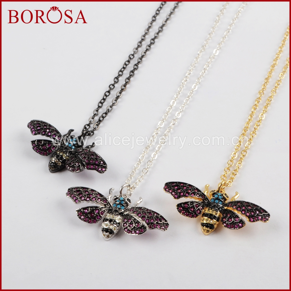 BOROSA Mosquito Insects Bugs Bee Necklace for Women,Zircon Pave CZ Beads Charm Ladybugs Pendant Coloful Jewelry Necklace WX838-N