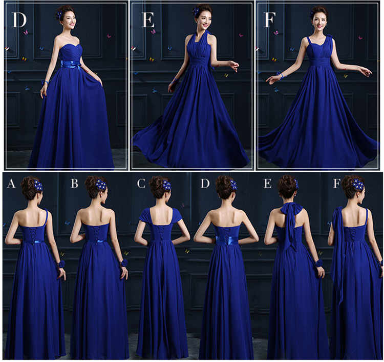 32eaf67a28 QNZL02#2018 spring summer long lace up royalblue chiffon bridesmaid dresses  wedding party prom dress Ladies fashion wholesale