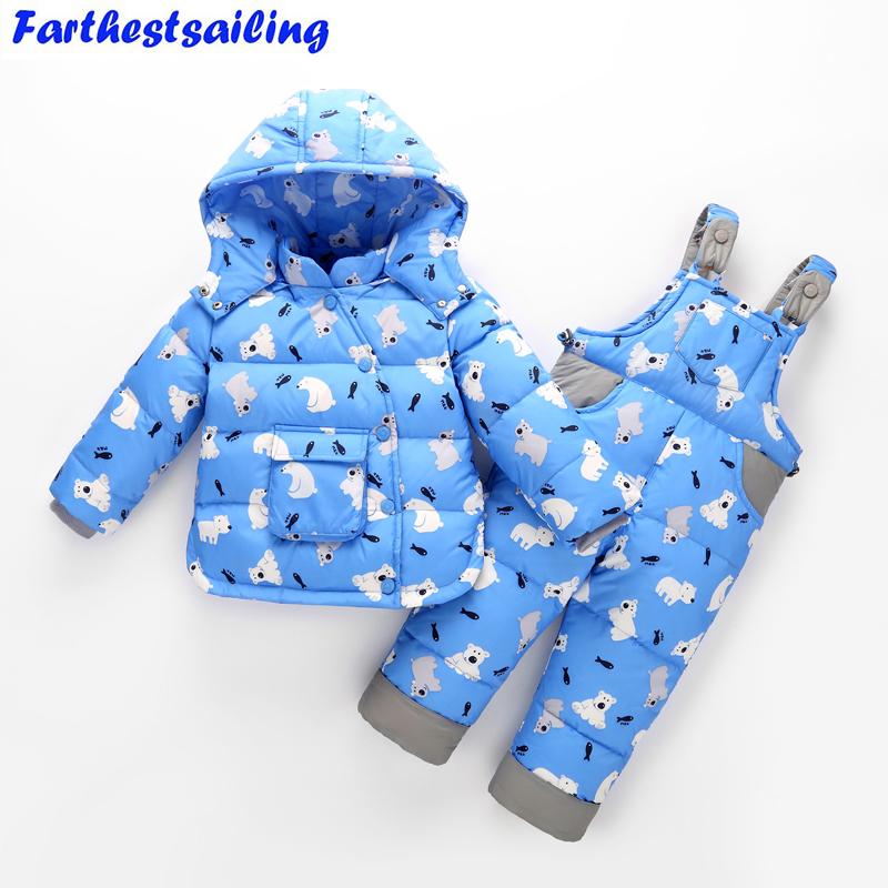 11.11 Winter Children Duck Down Clothing Set Baby Boy Girl Jacket Coat +Overalls 2PS Suits Kids Outerwear Snowsuit Baby Clothes цена