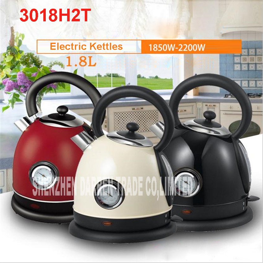 1PC 304 Stainless Steel Household Electric Water Kettle 1850W 1.8L Safety Auto-Off 220V Heating Kettles with temperature control cukyi stainless steel 1800w electric kettle household 2l safety auto off function quick heating red gold