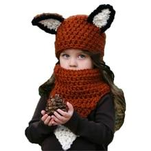 2017 Winter Kids Fox Ears Beanie Hat Children Girls Scarves