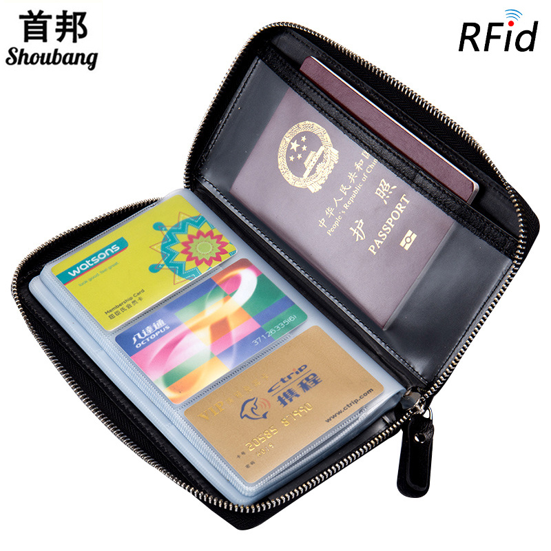Men S Passport Protector Cover Driving Licence Holder 60 Cards Cow Leather Credit Card Holder Anti
