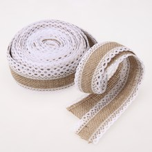 5m Linen Vintage Burlap Lace Table Runner for you Wedding Decorations