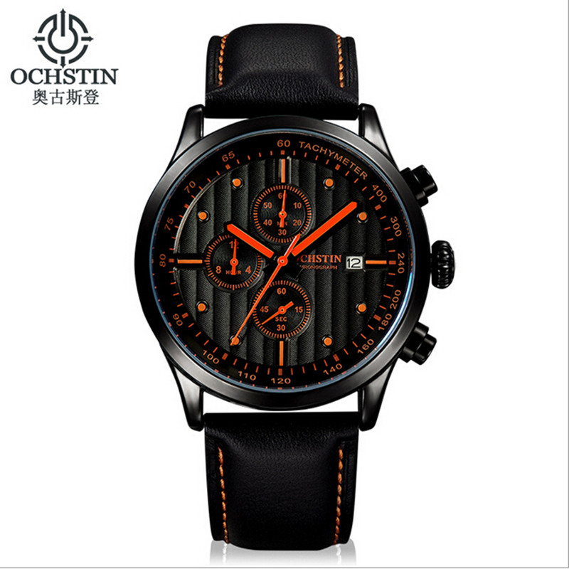 Luxury Brand OCHSTIN Men Quartz Watches Genuine Leather Waterproof Casual Wrist Watches For Man Chronograph Sport