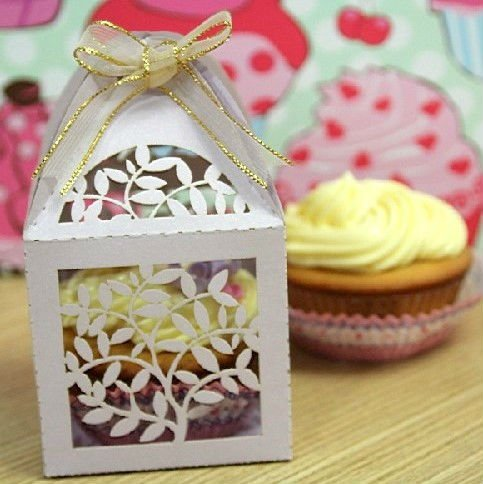 Laser Cut Large Outdoor Christmas Gift Decorations Cupcake Boxes New Decorative Cupcake Boxes