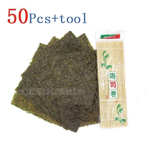 50 шт./компл. Нори Суши + бамбуковые скатывающиеся коврики нори инструмент, высококачественные водоросли нори для суши, японский alga нори набор для суши + инструмент-0