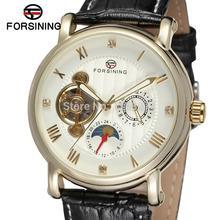 FSG800M3G2 Forsining марка мужчины Автоматическая self-ветер платье круглый аналоговые часы с фазы луны подарочной коробке оптовая продажа бесплатно доставка