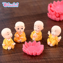 Yellow Clothing Monks Lotus model Simulation Cartoon Figurine fairy Statue home mini garden decoration accessories decor doll