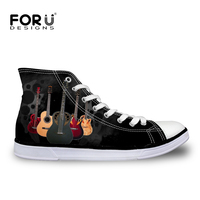 FORUDESIGNS Fashion Men Vulcanized Shoes Classic 3D Guitar High Top Canvas Shoes Breathable Teenagers Student Lace up Flats Male