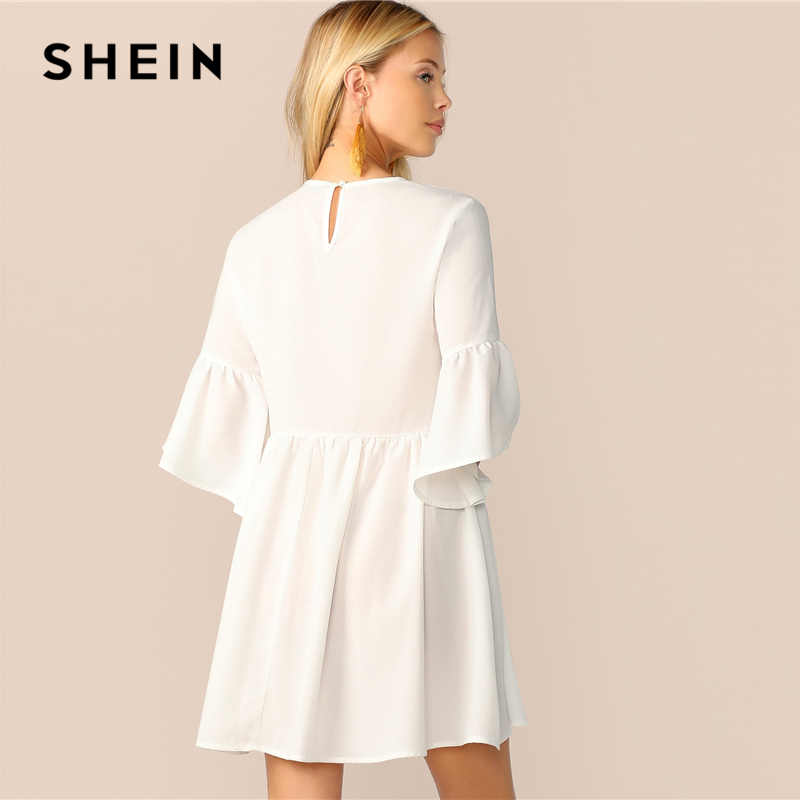 Shein Embroidered Floral Flounce Sleeve Smock Dress Women's Shein Collection