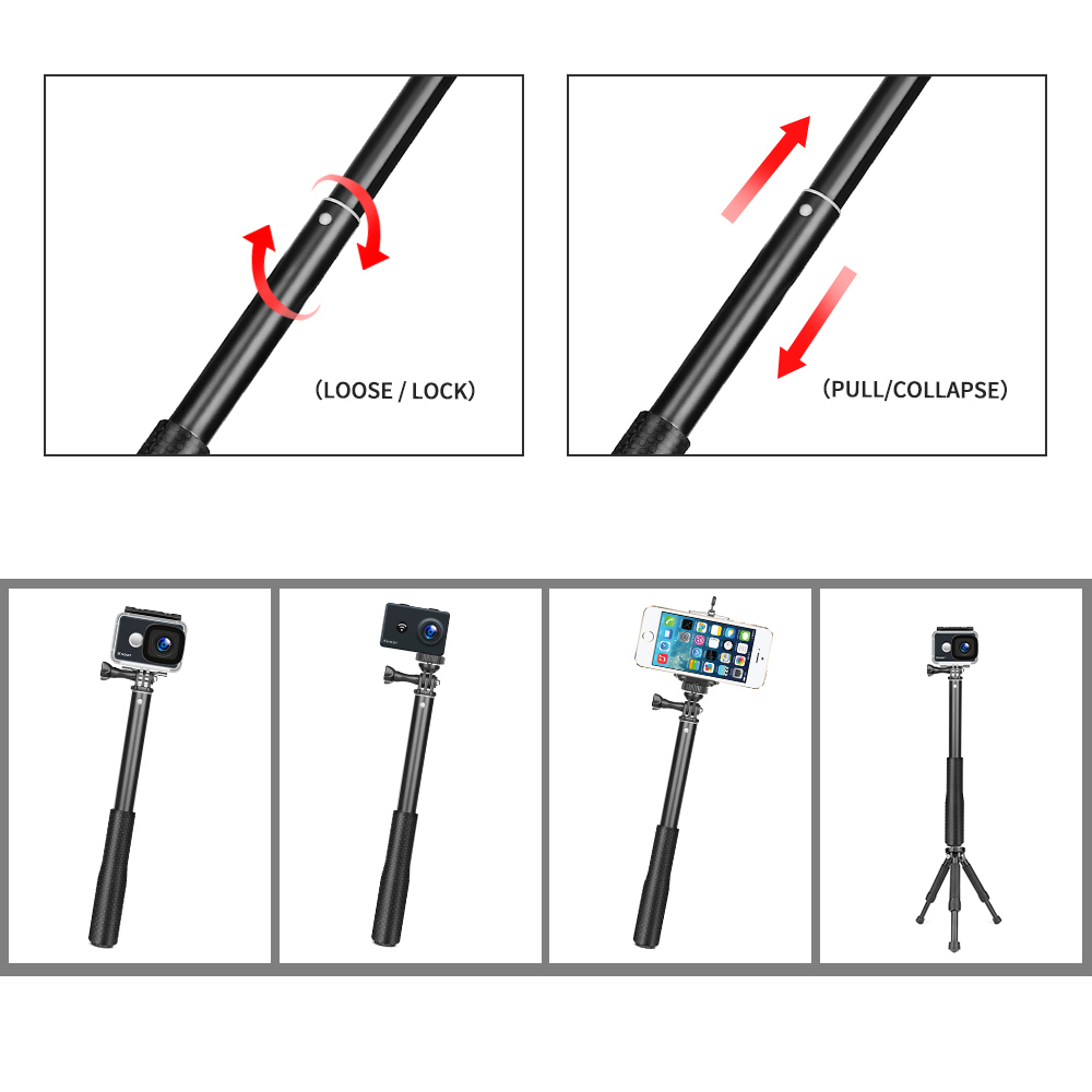 SHOOT 36 inch Aluminum Monopod for GoPro Hero 8 7 6 5 Black Silver Session Sjcam Sj7 Yi 4K Action Camera Selfie Stick for Go Pro