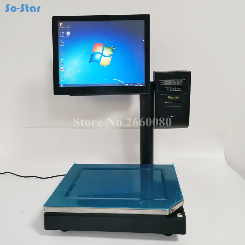 POS System Terminal Machine All in One Dual Touch Screen Cash Register Retail PC Based Scale with Thermal Receipt Printer