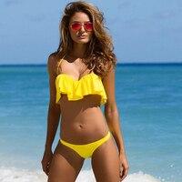 Sexy Brazilian Bikini 2017 Yellow Swim Wear Bathing Suits Woman Flouncing Swimsuit Push Up Bra Swimwear