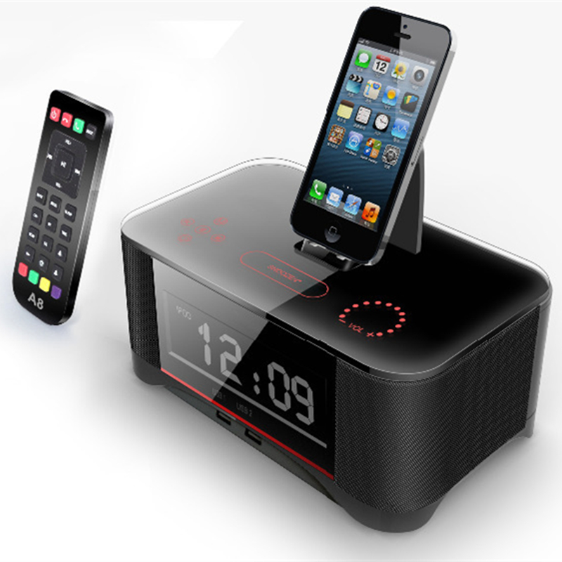 A8 LCD Digital FM Radio Alarm Clock NFC bluetooth Speaker Remote Control for iPhone 6 7 8 X for iphone 6s 7 8 plus for Samsung