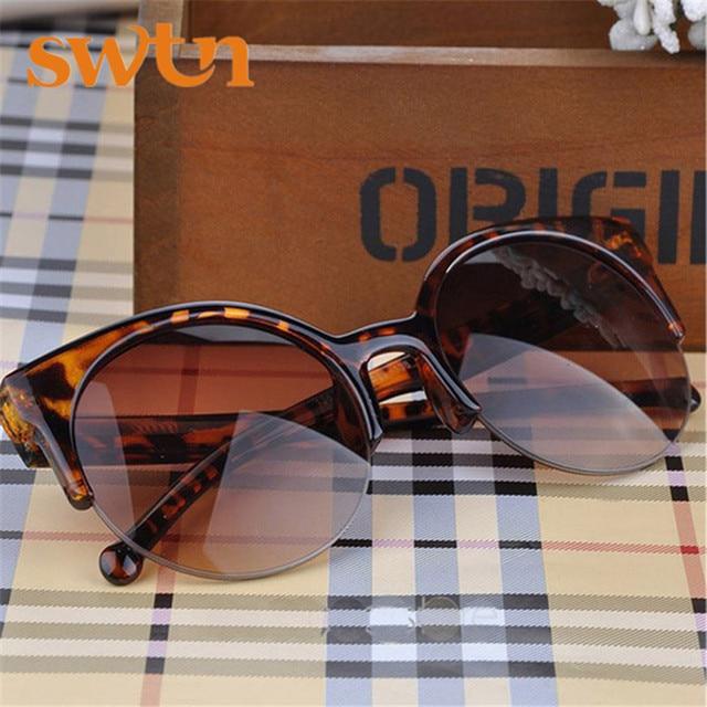 2016 Hot Selling Fashion Vintage Sunglasses Retro Cat Eye Semi-Rim Round Sunglasses for Men Women Sun Glasses Eyewear Eyeglasses