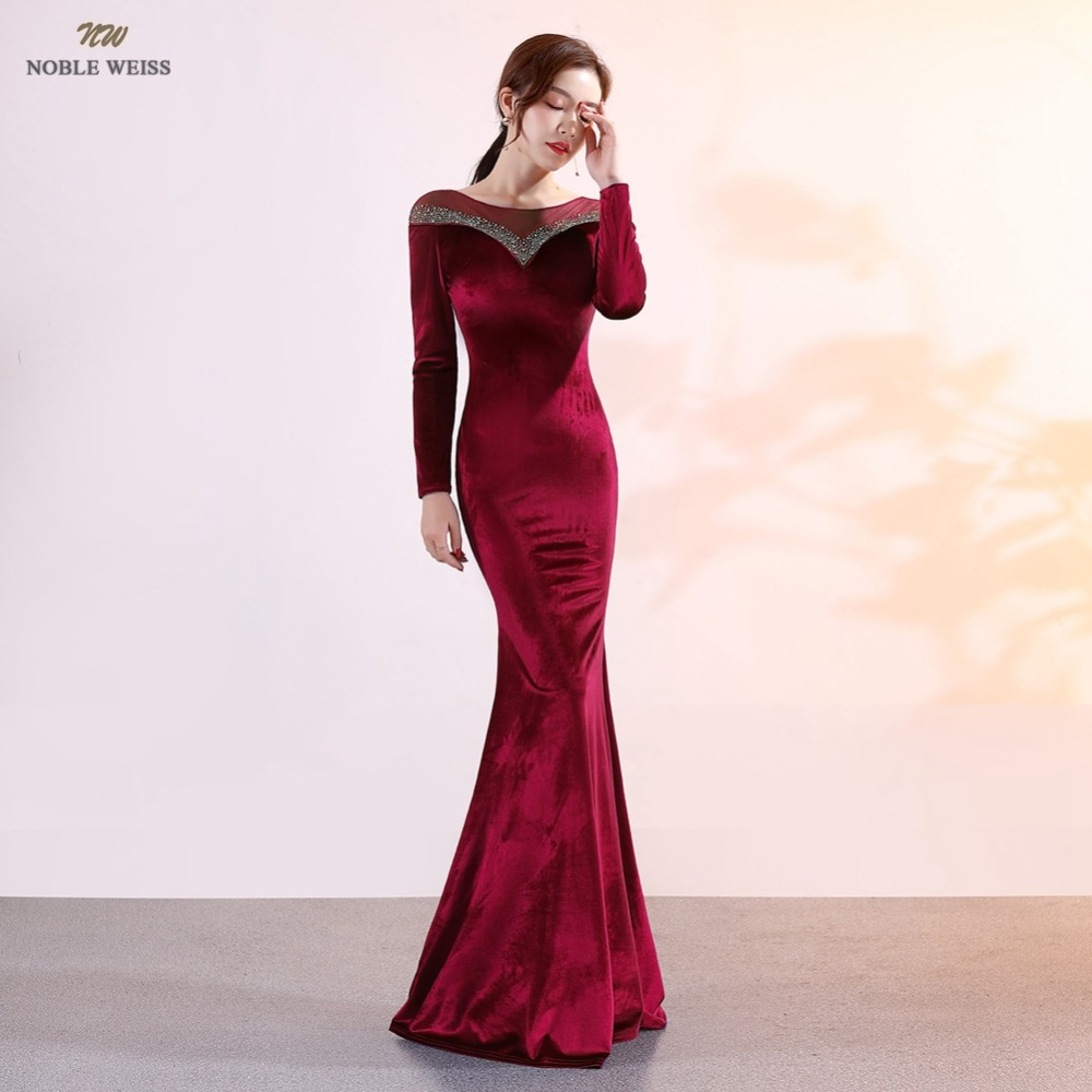 prom     dresses   2019 dark red mermaid crystal   prom     dress   sexy vestidos de gala floor-length   prom   gown with long sleeves