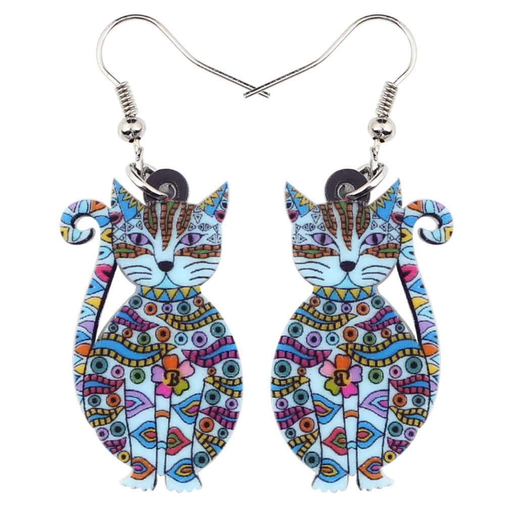 Acrylic Cat Fashion Earrings 1