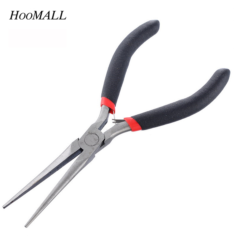 Hoomall High Quality Black Handle Multi-function Long Nose Pliers For Cutting Clamping Stripping Electrician Repair Hand Tools itechor 11 inch mini lengthened curved tools nose pliers high quality household safety nippers hand tool yellow handle black