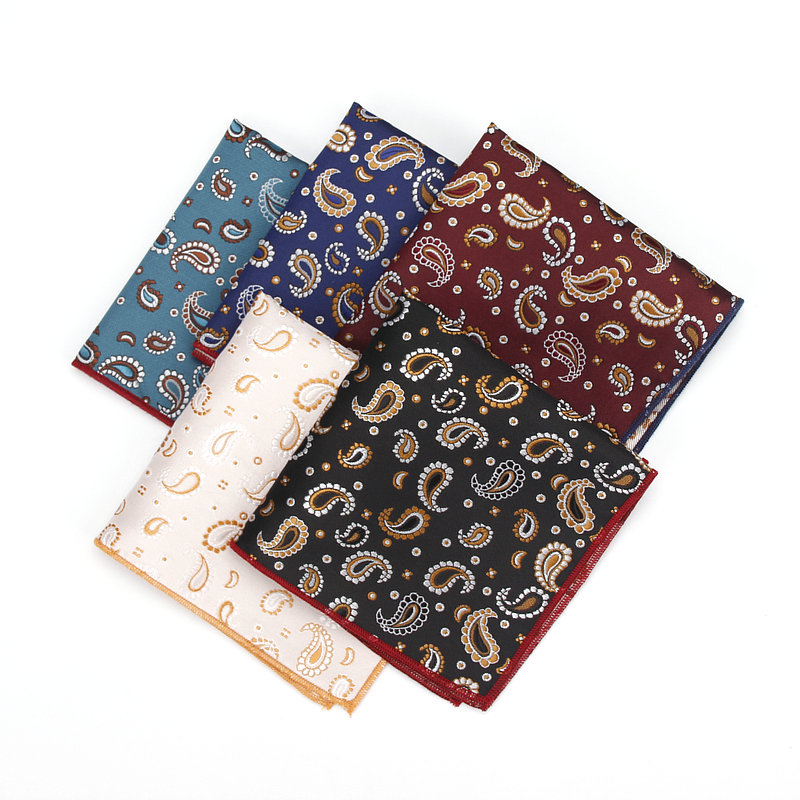 Men Fashion Paisley Flower Pocket Square Handkerchief Wedding Party Hanky YFTIE0041