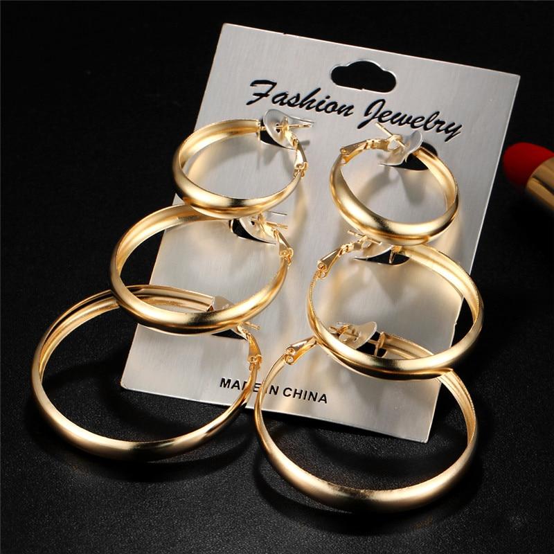 JIKA ANDA 6 Pairs / Set Mode Trendy Putaran Warna Emas Batu Punk Stud - Perhiasan fashion - Foto 3