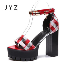 2018 New Fashion Womens Sandals Summer Sexy Platform Pumps Plaid High Heels Party Shoes Lady aa0942