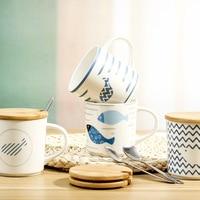 380ml cartoon creative coffee mug underwater fish ceramic water cup with lid with spoon office mug