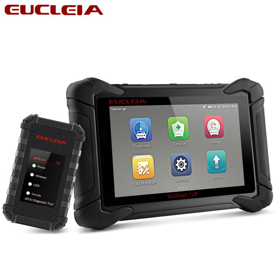 EUCLEIA S8 OBD2 Automotive Scanner ECU Programming and Coding Bluetooth WiFi Full System OBD Diagnostic OBDII Scan Tool-in Engine Analyzer from Automobiles & Motorcycles on