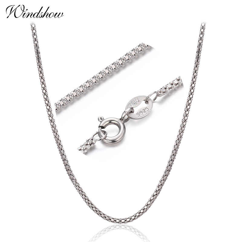 "1.2mm width 35cm-80cm 925 Sterling Silver Popcorn Chain Necklaces Women Jewelry Girls Collier kolye 14""-32"" Italy collares mujer"