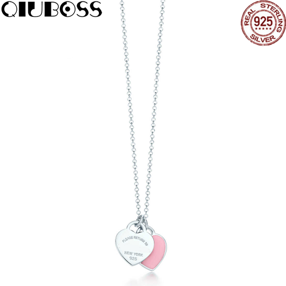 EDWLL Pure TIFF 925 Sterling Silver Pandent Women Jewelry Heart Necklace Pink Heart Jewelry Rose Gold Color Heart Love Necklace
