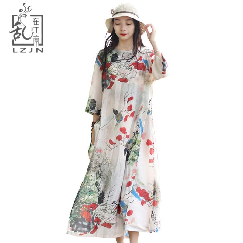 LZJN Women s Summer Dress 2019 Half Sleeve Floral Maxi Shirt Dress Folk Robe Femme Side